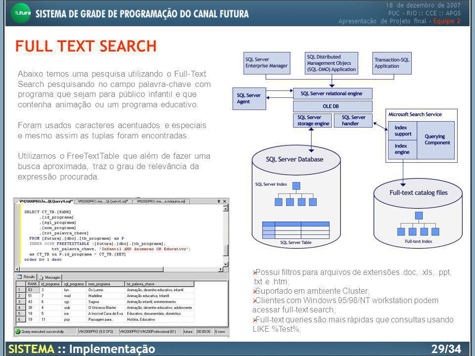 18 de dezembro de 2007 PUC – RIO :: CCE :: APGS Apresentação de Projeto final – Equipe 2 FULL TEXT SEARCH Abaixo temos uma pesquisa utilizando o Full-