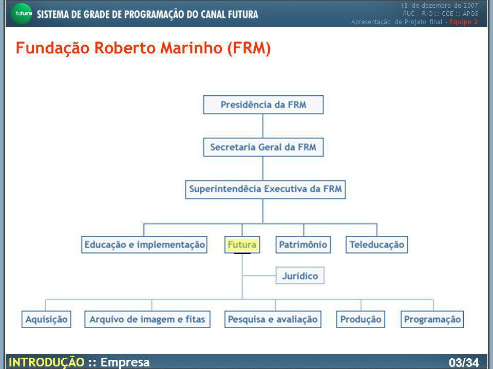 18 de dezembro de 2007 PUC – RIO :: CCE :: APGS Apresentação de Projeto final – Equipe 2 Fundação Roberto Marinho (FRM) 03/34 INTRODUÇÃO :: Empresa