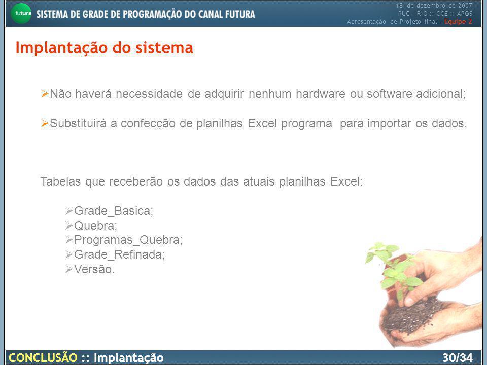 18 de dezembro de 2007 PUC – RIO :: CCE :: APGS Apresentação de Projeto final – Equipe 2 Implantação do sistema CONCLUSÃO :: Implantação30 /34 Não hav