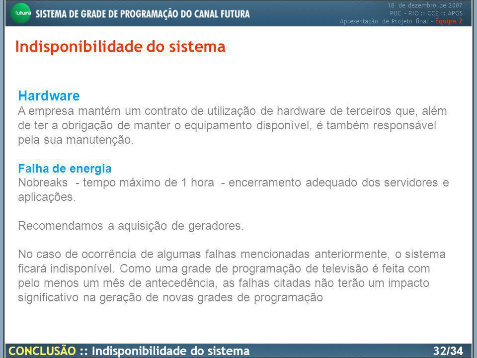 18 de dezembro de 2007 PUC – RIO :: CCE :: APGS Apresentação de Projeto final – Equipe 2 Indisponibilidade do sistema CONCLUSÃO :: Indisponibilidade d