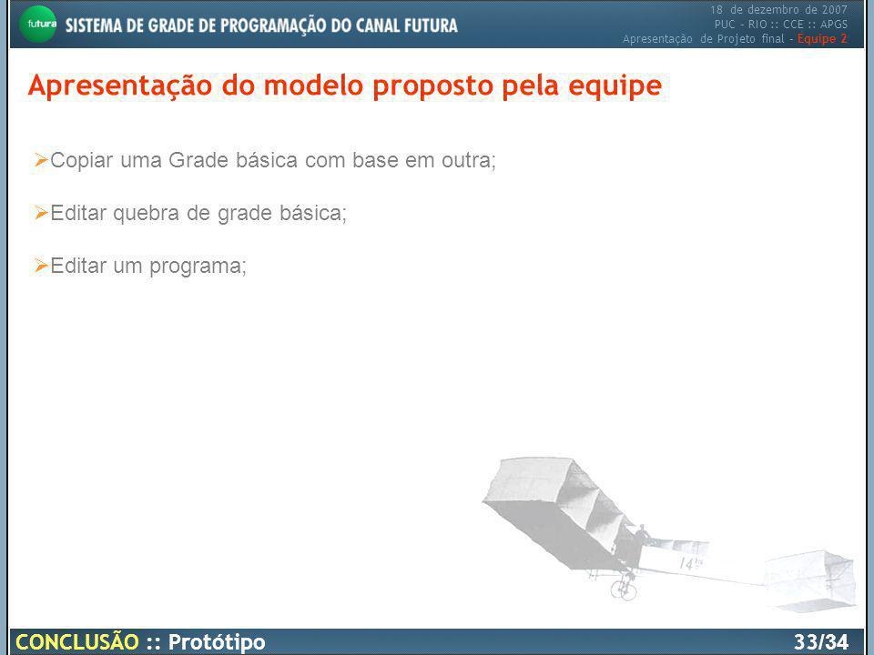 18 de dezembro de 2007 PUC – RIO :: CCE :: APGS Apresentação de Projeto final – Equipe 2 Apresentação do modelo proposto pela equipe CONCLUSÃO :: Prot