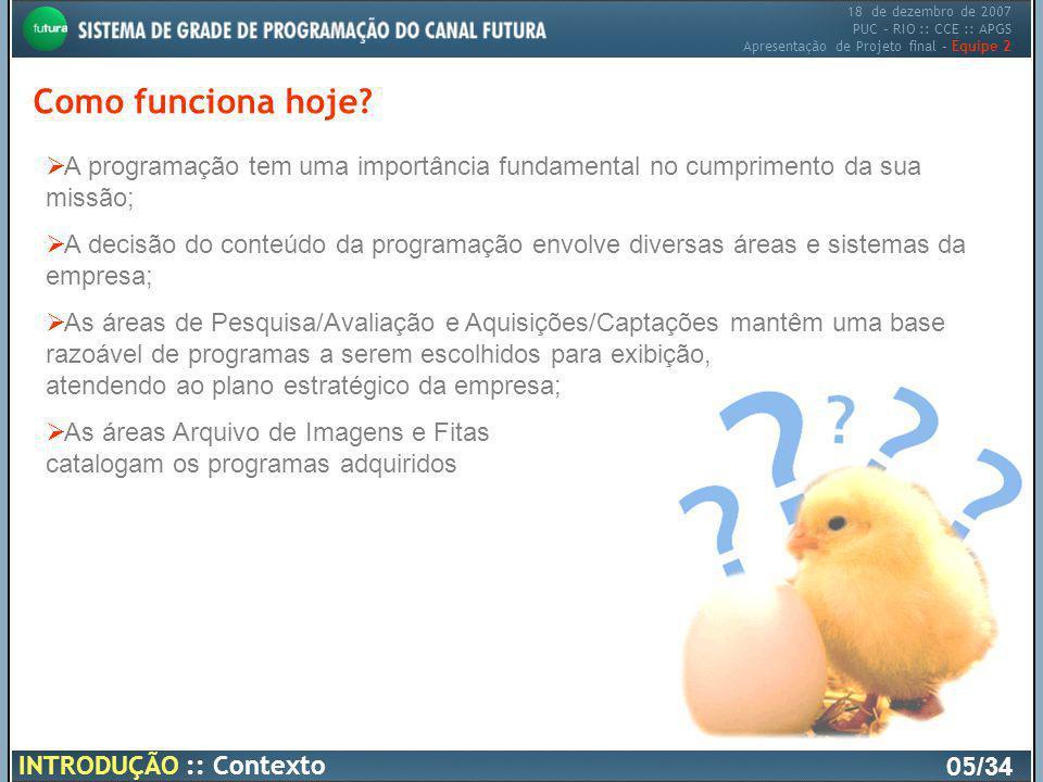 18 de dezembro de 2007 PUC – RIO :: CCE :: APGS Apresentação de Projeto final – Equipe 2 Como funciona hoje? 05 /34 INTRODUÇÃO :: Contexto A programaç