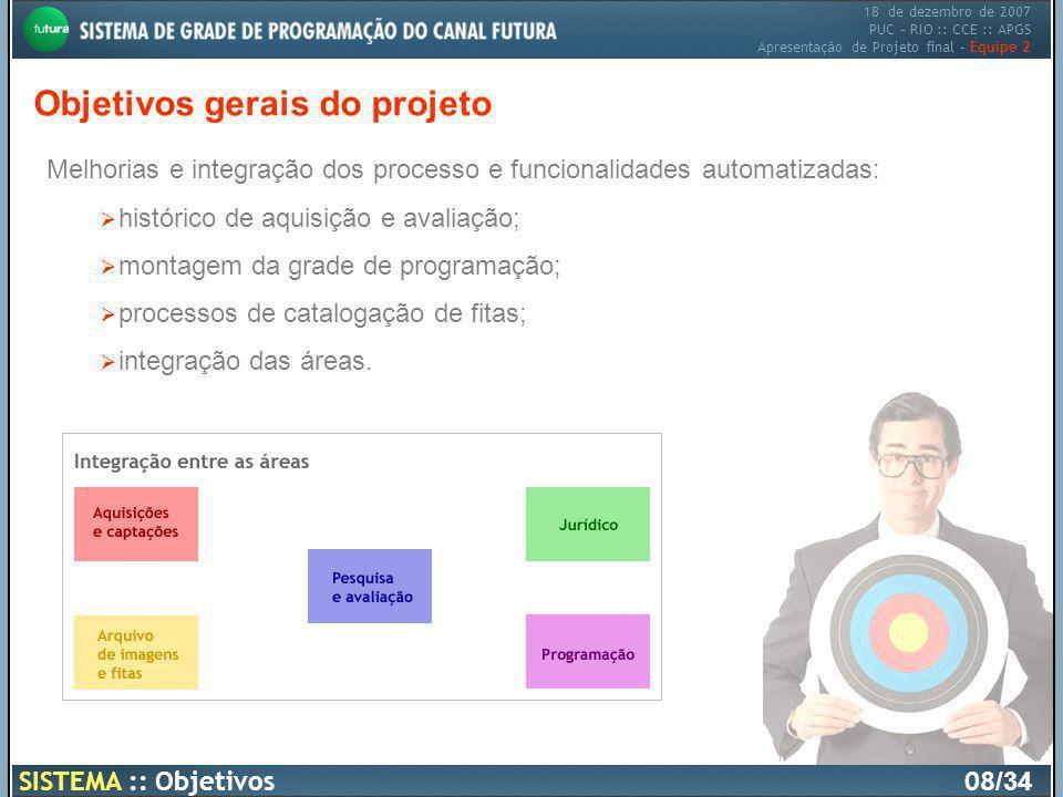 18 de dezembro de 2007 PUC – RIO :: CCE :: APGS Apresentação de Projeto final – Equipe 2 Objetivos gerais do projeto SISTEMA :: Objetivos08 /34 Melhor