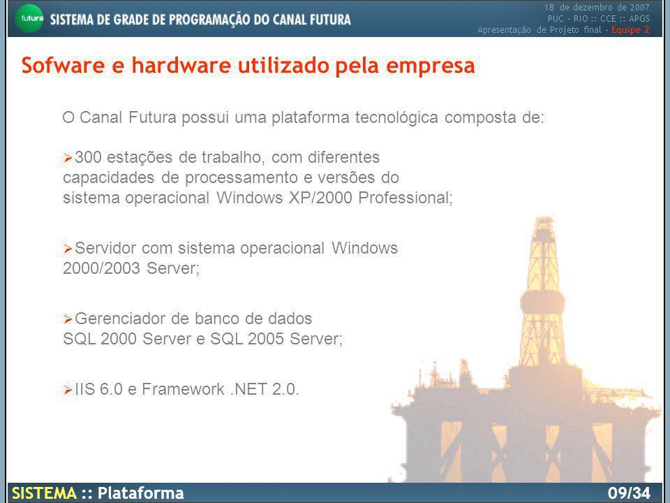 18 de dezembro de 2007 PUC – RIO :: CCE :: APGS Apresentação de Projeto final – Equipe 2 SISTEMA :: Plataforma10 /34 Sofware e hardware utilizado pela empresa
