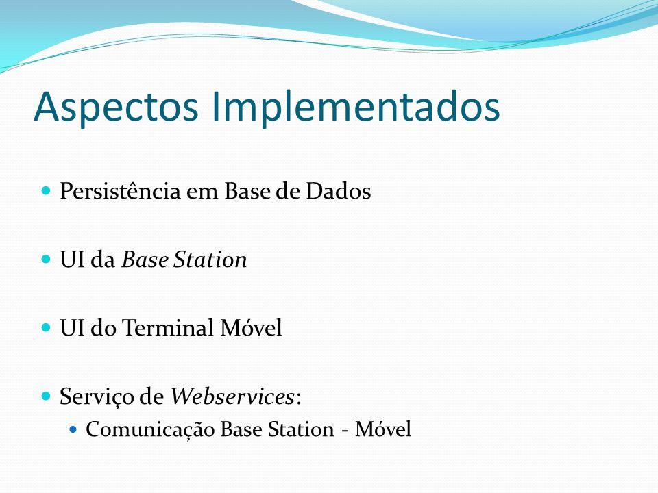 Aspectos Implementados Persistência em Base de Dados UI da Base Station UI do Terminal Móvel Serviço de Webservices: Comunicação Base Station - Móvel