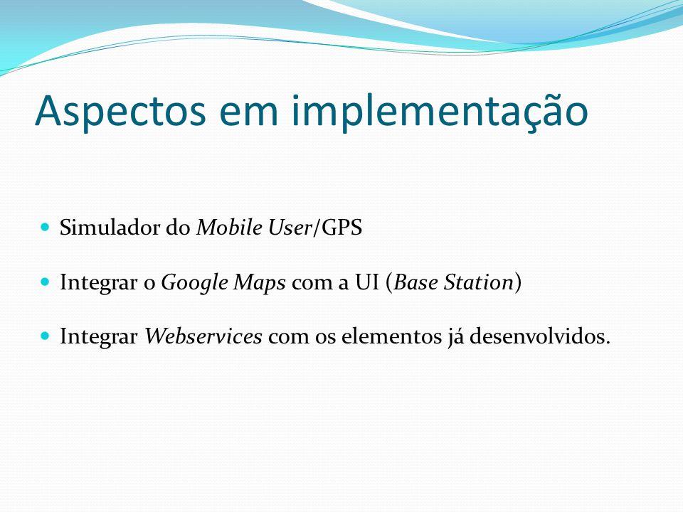 Aspectos em implementação Simulador do Mobile User/GPS Integrar o Google Maps com a UI (Base Station) Integrar Webservices com os elementos já desenvo