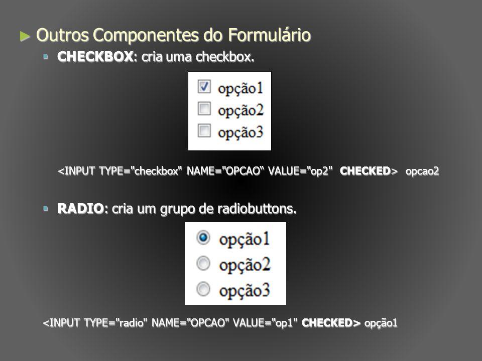 Outros Componentes do Formulário Outros Componentes do Formulário CHECKBOX: cria uma checkbox. CHECKBOX: cria uma checkbox. opcao2 opcao2 RADIO: cria