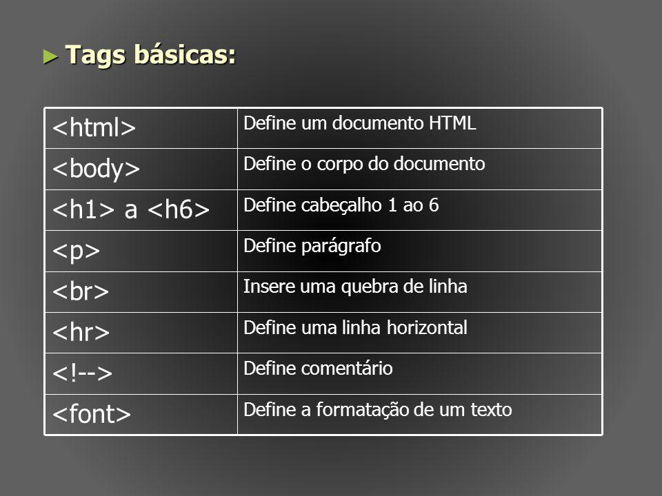 Tags básicas: Tags básicas: Define a formatação de um texto Define comentário Define uma linha horizontal Insere uma quebra de linha Define parágrafo
