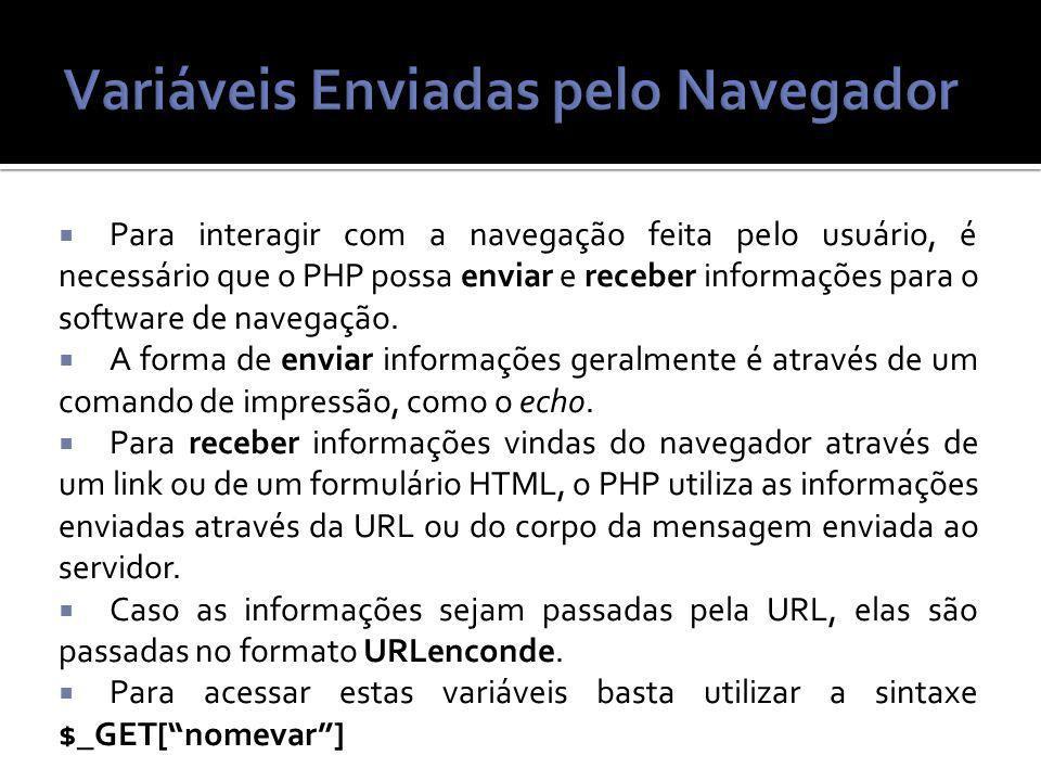 Para interagir com a navegação feita pelo usuário, é necessário que o PHP possa enviar e receber informações para o software de navegação.
