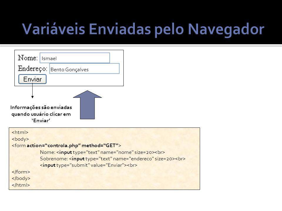 Nome: Sobrenome: Informações são enviadas quando usuário clicar em Enviar Ismael Bento Gonçalves
