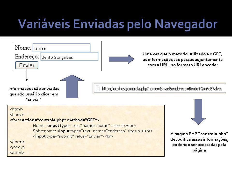 Nome: Sobrenome: Informações são enviadas quando usuário clicar em Enviar Ismael Bento Gonçalves Uma vez que o método utilizado é o GET, as informações são passadas juntamente com a URL, no formato URLencode: A página PHP controla.php decodifica essas informações, podendo ser acessadas pela página
