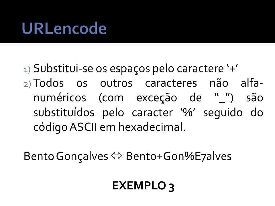 1) Substitui-se os espaços pelo caractere + 2) Todos os outros caracteres não alfa- numéricos (com exceção de _) são substituídos pelo caracter % seguido do código ASCII em hexadecimal.