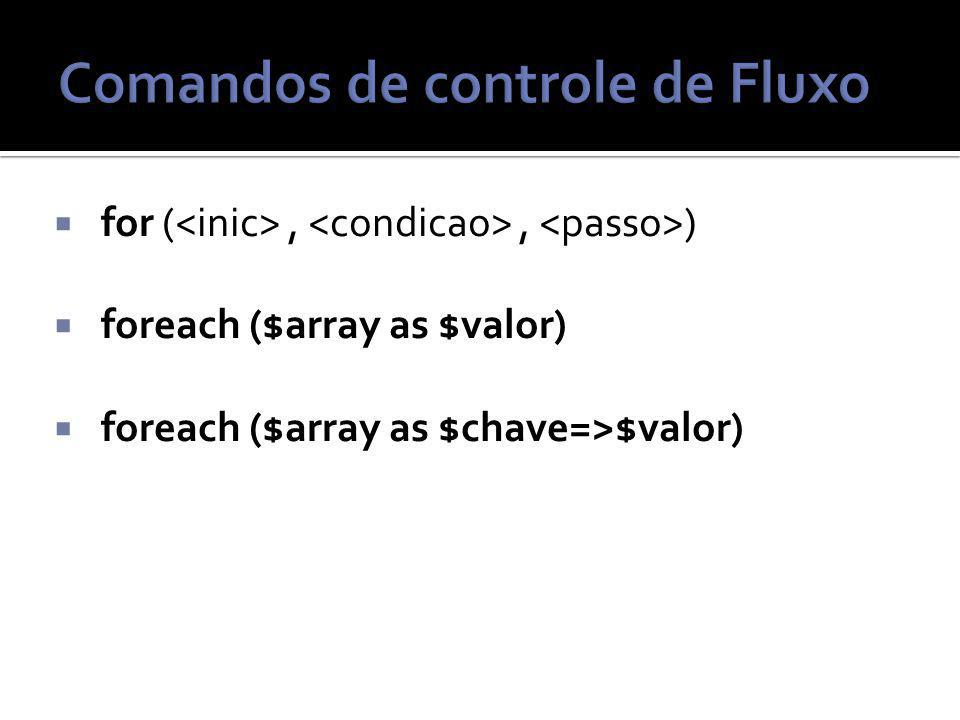 for (,, ) foreach ($array as $valor) foreach ($array as $chave=>$valor)