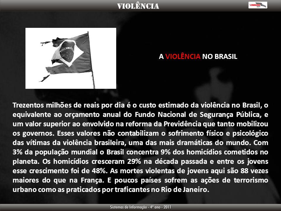 A VIOLÊNCIA NO BRASIL Trezentos milhões de reais por dia é o custo estimado da violência no Brasil, o equivalente ao orçamento anual do Fundo Nacional