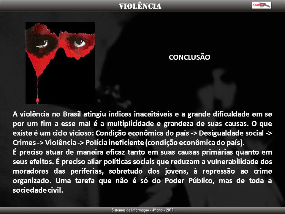 CONCLUSÃO A violência no Brasil atingiu índices inaceitáveis e a grande dificuldade em se por um fim a esse mal é a multiplicidade e grandeza de suas