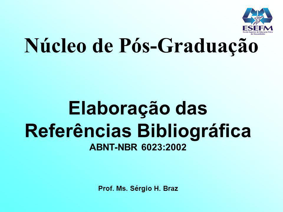 Núcleo de Pós-Graduação Elaboração das Referências Bibliográfica ABNT-NBR 6023:2002 Prof. Ms. Sérgio H. Braz