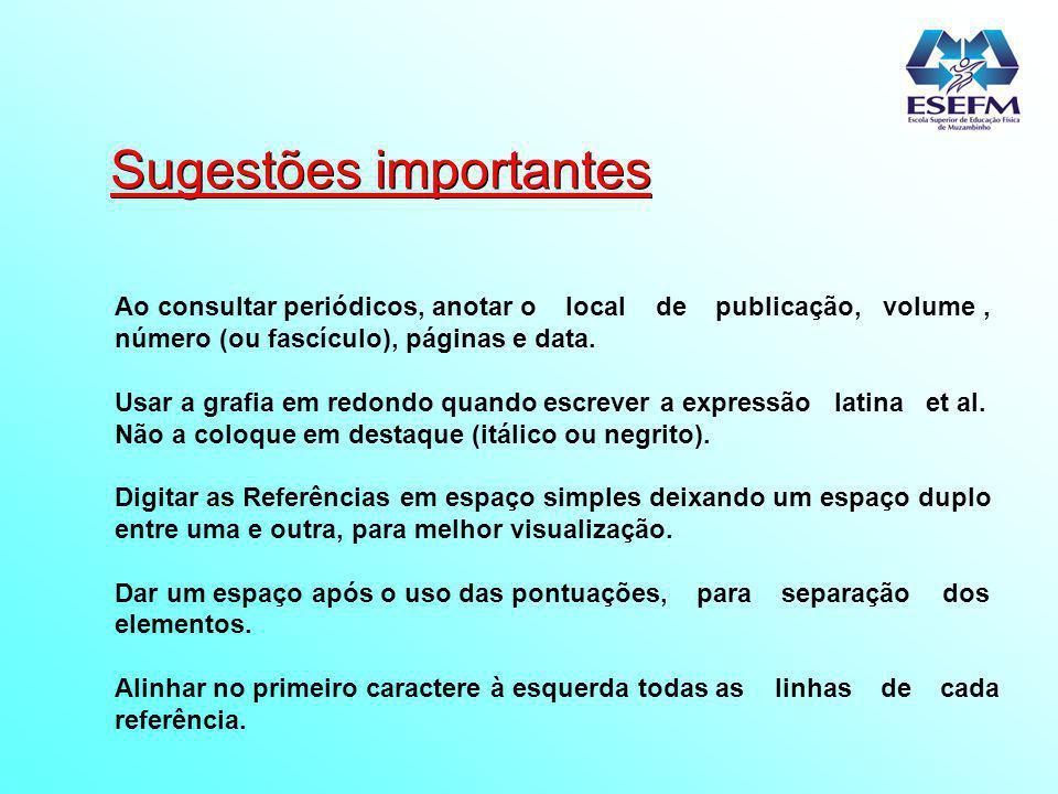 Conceitos REFERÊNCIA : conjunto padronizado de elementos descritivos, retirados de um documento, que permite sua identificação individual.