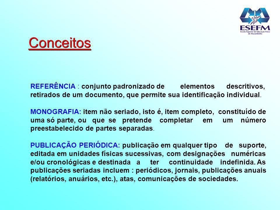 Conceitos REFERÊNCIA : conjunto padronizado de elementos descritivos, retirados de um documento, que permite sua identificação individual. MONOGRAFIA: