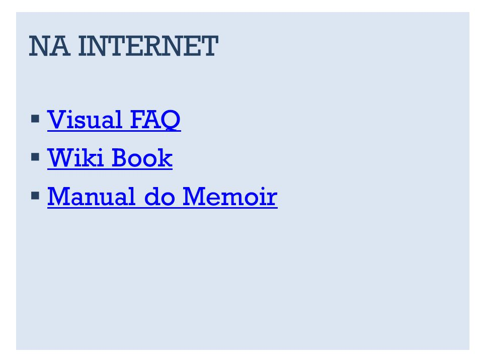 NA INTERNET Visual FAQ Wiki Book Manual do Memoir