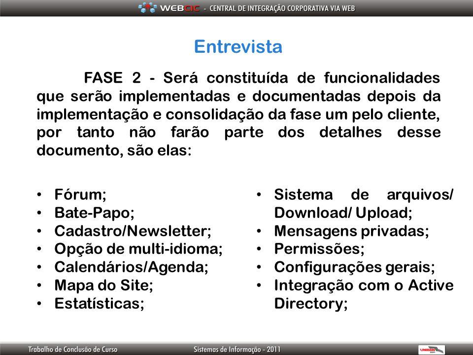 Entrevista FASE 2 - Será constituída de funcionalidades que serão implementadas e documentadas depois da implementação e consolidação da fase um pelo