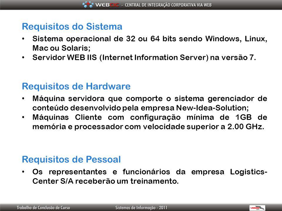 Requisitos do Sistema Sistema operacional de 32 ou 64 bits sendo Windows, Linux, Mac ou Solaris; Servidor WEB IIS (Internet Information Server) na ver