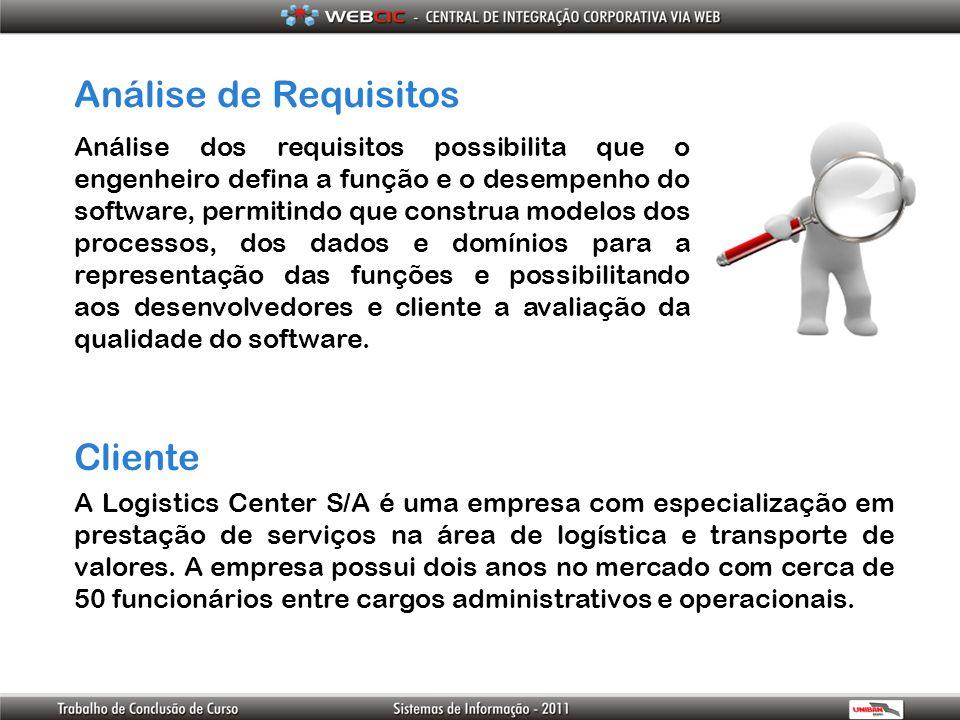 Análise de Requisitos Análise dos requisitos possibilita que o engenheiro defina a função e o desempenho do software, permitindo que construa modelos