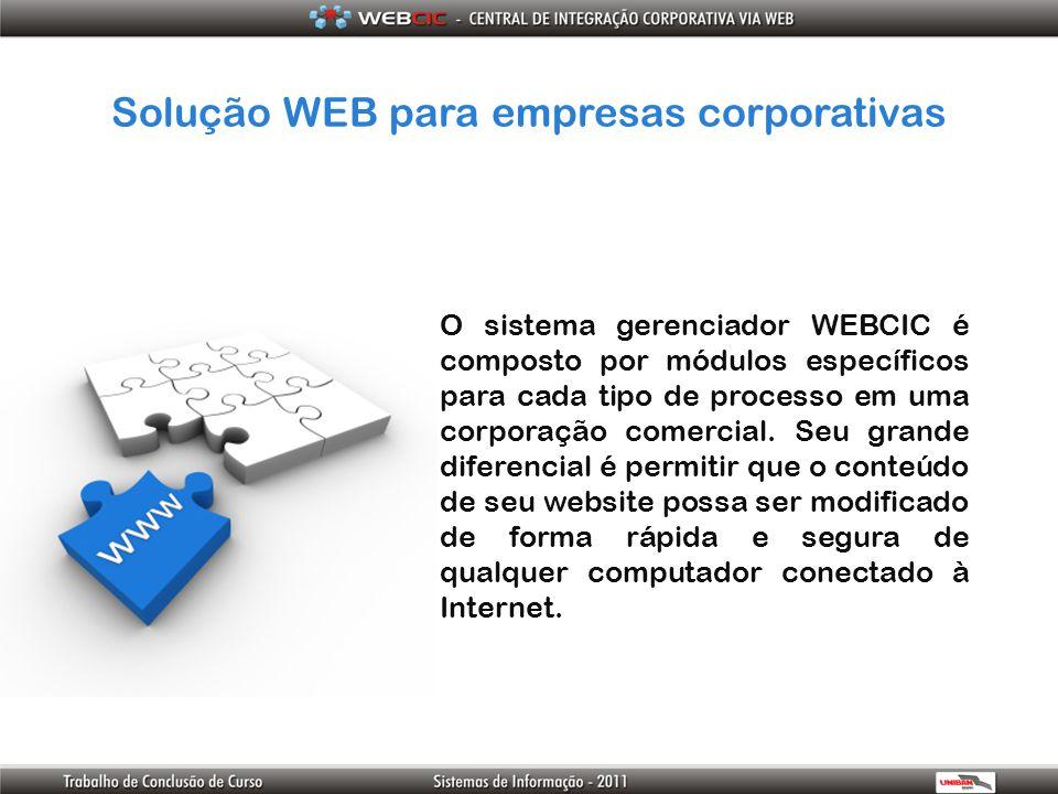 Solução WEB para empresas corporativas O sistema gerenciador WEBCIC é composto por módulos específicos para cada tipo de processo em uma corporação co