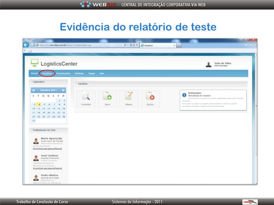 Evidência do relatório de teste