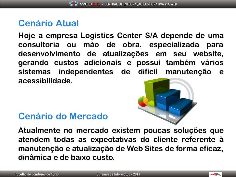 Cenário Atual Cenário do Mercado Hoje a empresa Logistics Center S/A depende de uma consultoria ou mão de obra, especializada para desenvolvimento de
