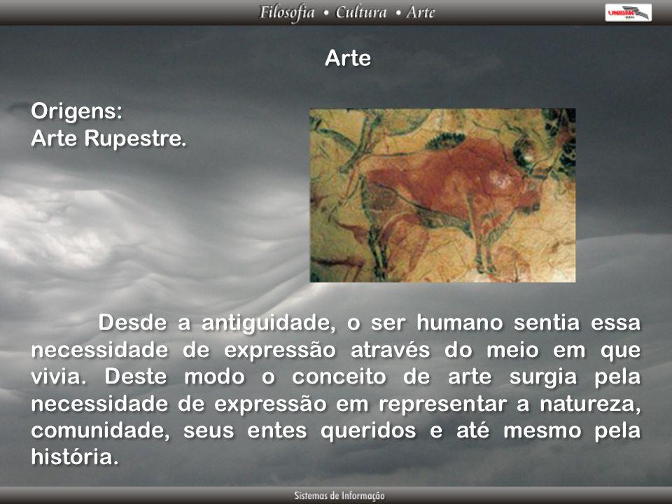 Arte Origens: Arte Rupestre. Origens: Arte Rupestre. Desde a antiguidade, o ser humano sentia essa necessidade de expressão através do meio em que viv