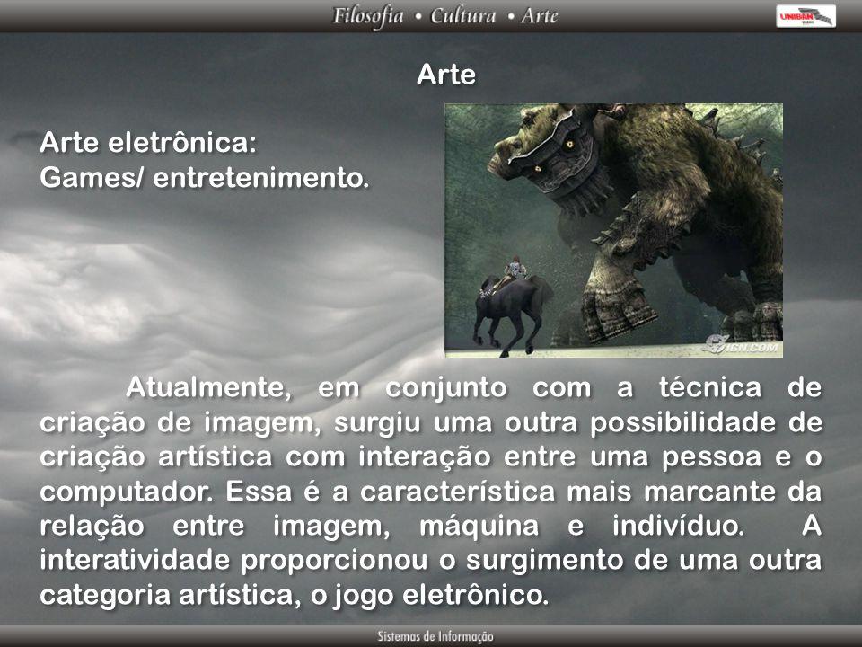 Arte Arte eletrônica: Games/ entretenimento. Arte eletrônica: Games/ entretenimento. Atualmente, em conjunto com a técnica de criação de imagem, surgi