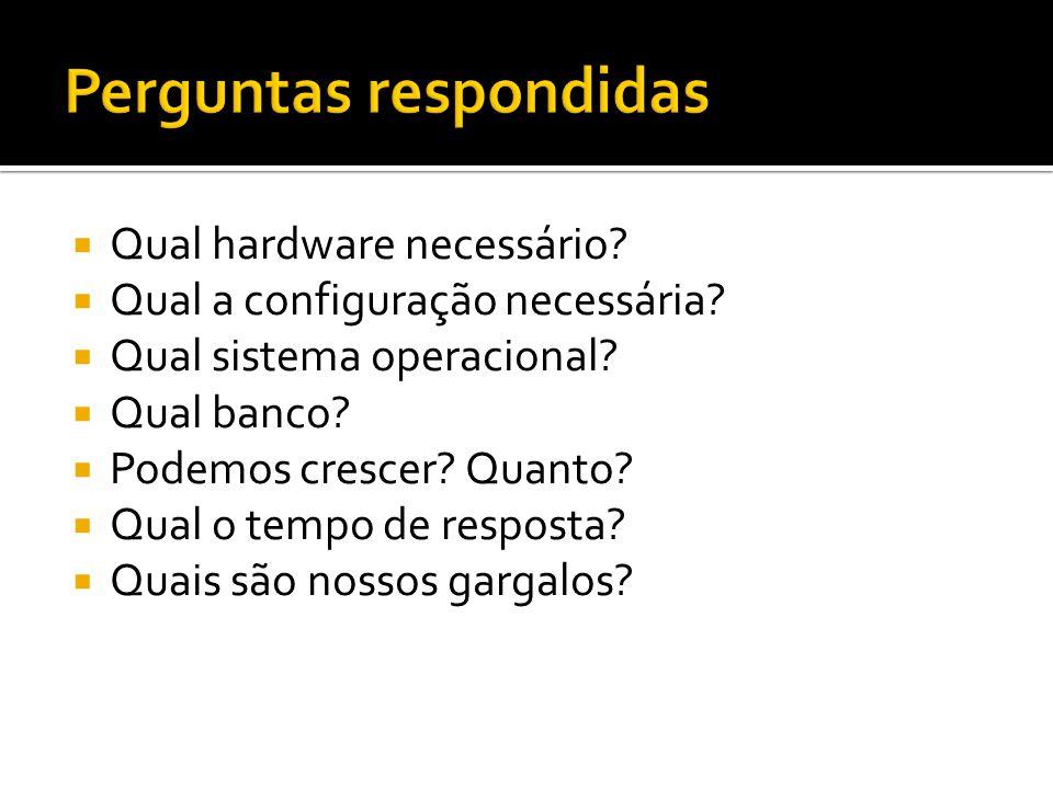 Qual hardware necessário? Qual a configuração necessária? Qual sistema operacional? Qual banco? Podemos crescer? Quanto? Qual o tempo de resposta? Qua