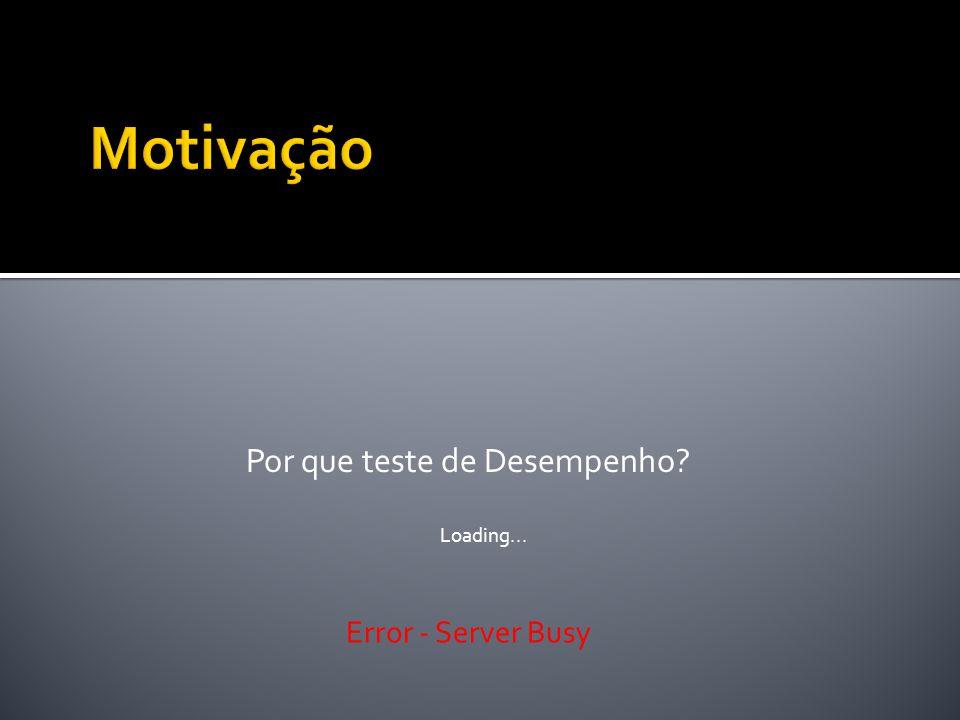 Por que teste de Desempenho? Loading... Error - Server Busy