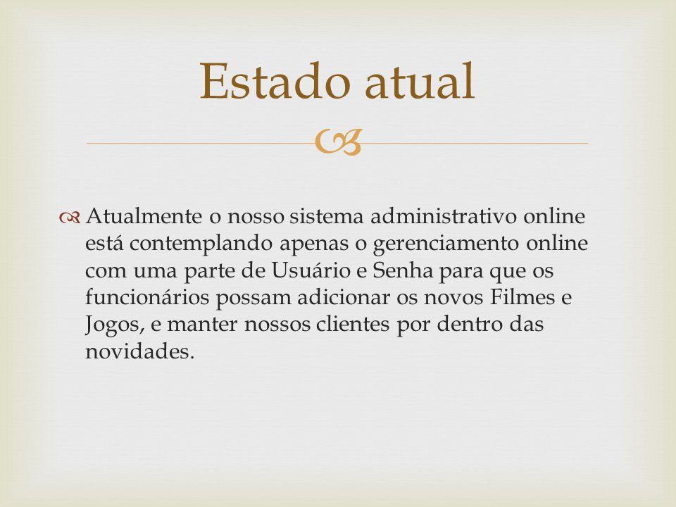 Atualmente o nosso sistema administrativo online está contemplando apenas o gerenciamento online com uma parte de Usuário e Senha para que os funcioná