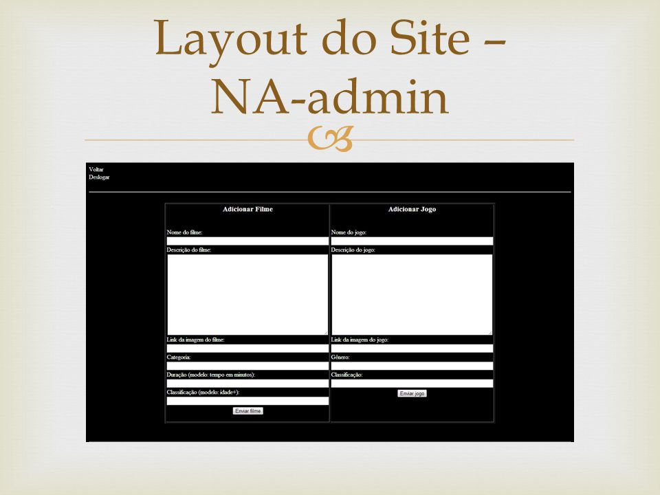 Layout do Site – NA-admin