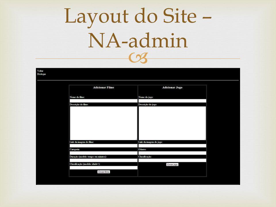 Layout do Site – NA-admin
