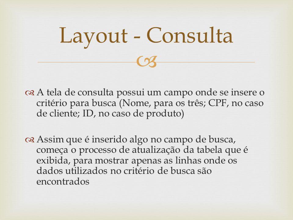 A tela de consulta possui um campo onde se insere o critério para busca (Nome, para os três; CPF, no caso de cliente; ID, no caso de produto) Assim qu