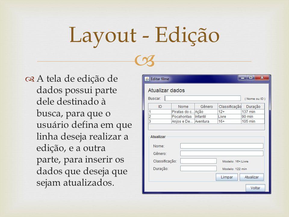 A tela de edição de dados possui parte dele destinado à busca, para que o usuário defina em que linha deseja realizar a edição, e a outra parte, para
