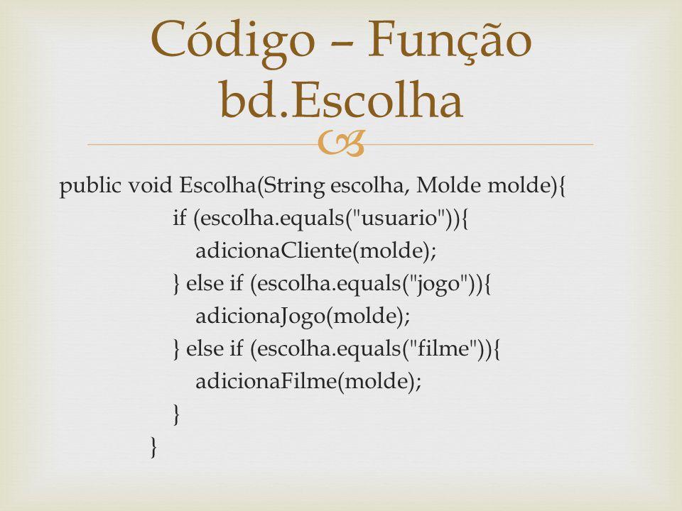 public void Escolha(String escolha, Molde molde){ if (escolha.equals(