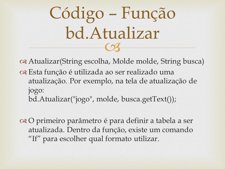 Atualizar(String escolha, Molde molde, String busca) Esta função é utilizada ao ser realizado uma atualização. Por exemplo, na tela de atualização de
