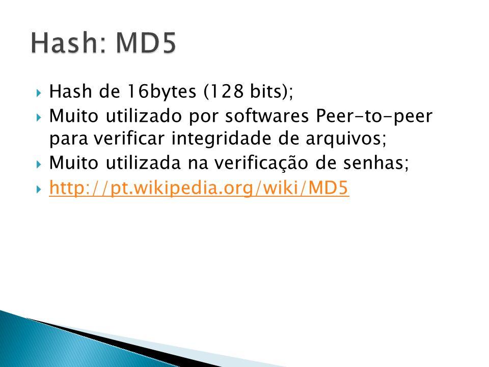 Hash de 16bytes (128 bits); Muito utilizado por softwares Peer-to-peer para verificar integridade de arquivos; Muito utilizada na verificação de senha