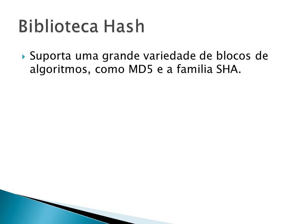 Suporta uma grande variedade de blocos de algoritmos, como MD5 e a familia SHA.