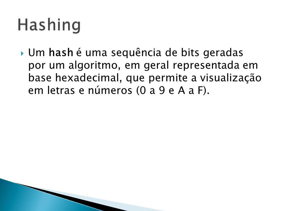 Um hash é uma sequência de bits geradas por um algoritmo, em geral representada em base hexadecimal, que permite a visualização em letras e números (0