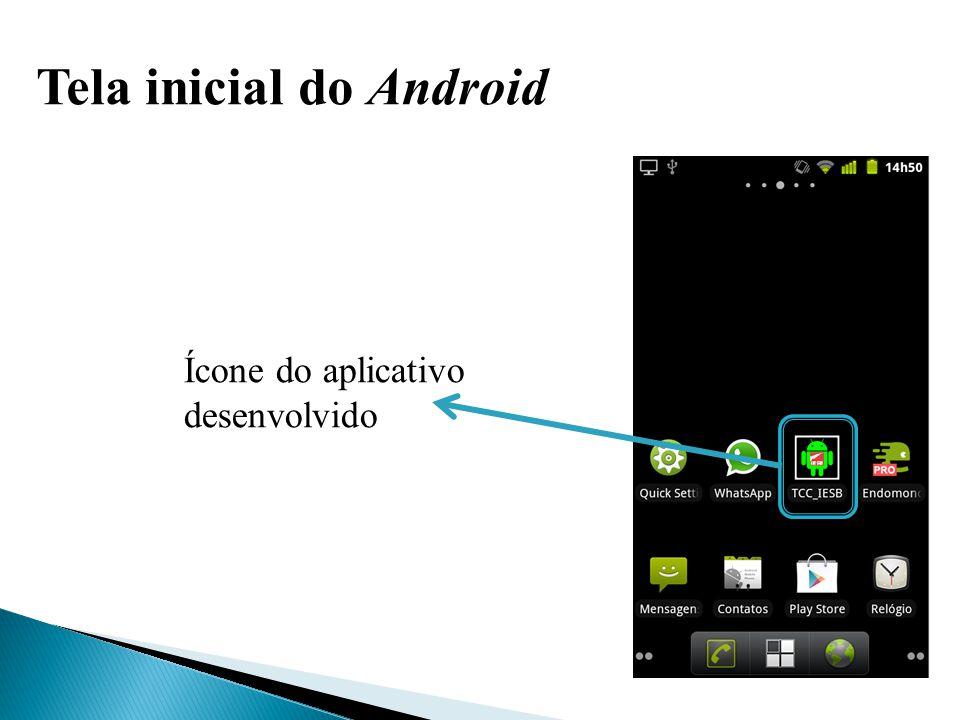 Tela inicial do aplicativo Botão para realizar a captura da imagem Botão para realizar o reconhecimento facial (desativado)
