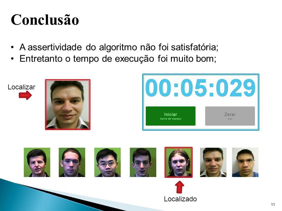 11 Conclusão A assertividade do algoritmo não foi satisfatória; Entretanto o tempo de execução foi muito bom; Localizar Localizado