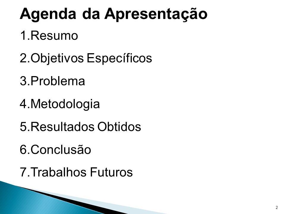 2 Agenda da Apresentação 1.Resumo 2.Objetivos Específicos 3.Problema 4.Metodologia 5.Resultados Obtidos 6.Conclusão 7.Trabalhos Futuros