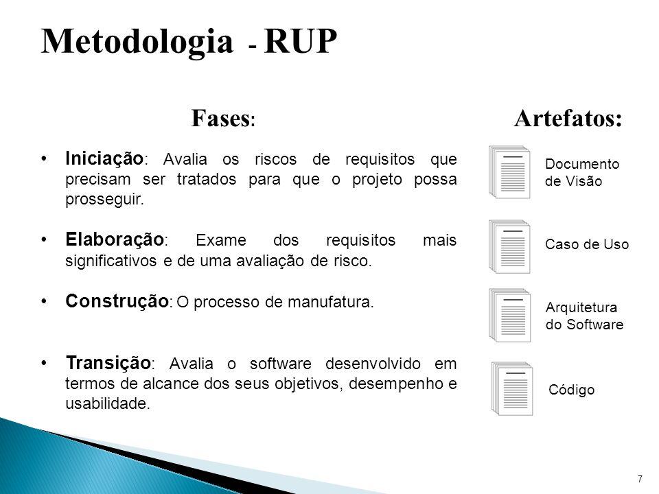 7 Metodologia - RUP Iniciação : Avalia os riscos de requisitos que precisam ser tratados para que o projeto possa prosseguir. Elaboração : Exame dos r