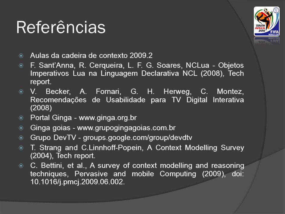 Referências Aulas da cadeira de contexto 2009.2 F.
