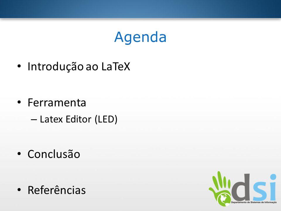 Introdução ao LaTeX Leslie Lamport Linguagem de marcação e sistema de preparação de documentos Destina a oferecer uma linguagem de alto nível (acessando o poder da TEX) Concentrar-se no conteúdo escrito