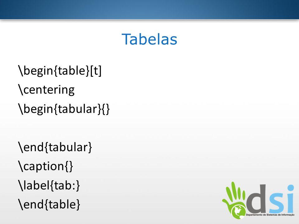 Tabelas \begin{table}[t] \centering \begin{tabular}{} \end{tabular} \caption{} \label{tab:} \end{table}